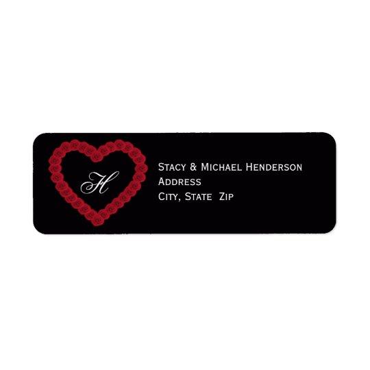 Monogram Heart Wedding Return Address Label