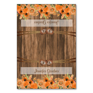 Monogram Heart with Orange Floral  | Place Cards