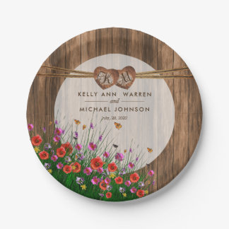 Monogram Heart with Spring Wildflowers 2 Paper Plate