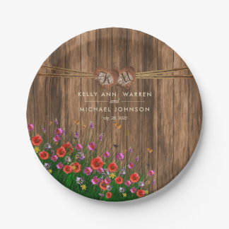 Monogram Heart with Spring Wildflowers Paper Plate