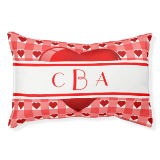Monogram Hearts and Gingham Pet Bed