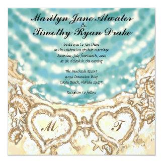Monogram Hearts on the Beach Wedding Invitation