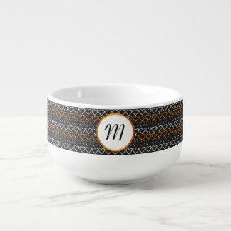 Monogram hearts soup mug