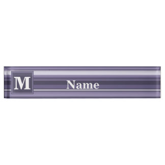 Monogram heather purple stripes nameplate