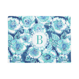 Monogram HIBISCUS BOUNTY Blue Tropical Hawaiian Doormat