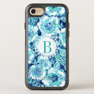 Monogram HIBISCUS BOUNTY Blue Tropical Hawaiian OtterBox Symmetry iPhone 7 Case