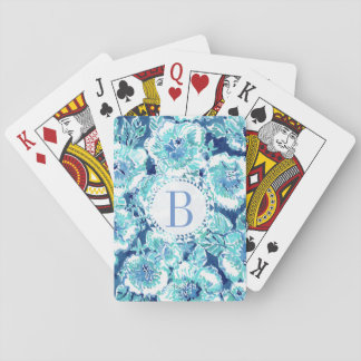 Monogram HIBISCUS BOUNTY Blue Tropical Hawaiian Playing Cards