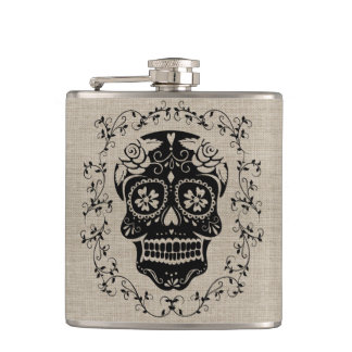 Monogram Hipster Black Sugar Skull on Burlap Hip Flask