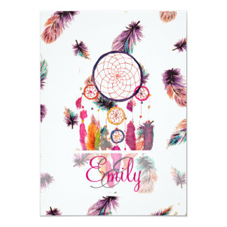 Monogram Hipster Watercolor Dreamcatcher Feathers 13 Cm X 18 Cm Invitation Card