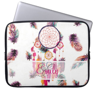 Monogram Hipster Watercolor Dreamcatcher Feathers Laptop Sleeve