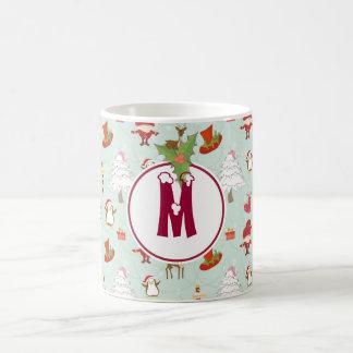 Monogram Holiday Christmas Elf Mug