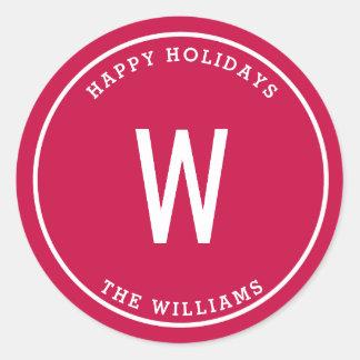 Monogram Holiday Name Sticker Tag
