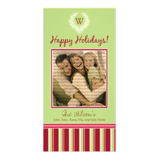 Monogram Holiday Photo Card Wreath-Stripes :: 09