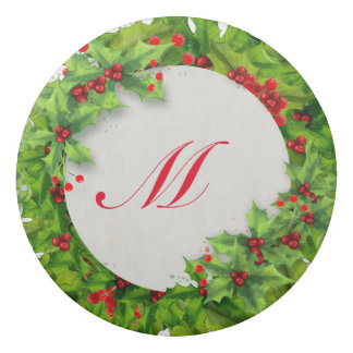 Monogram Holly Berry Wreath Eraser