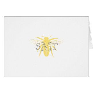 Monogram Honeybee Note Card