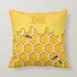 Monogram. Honeycomb. Dripping Honey. Bees. Cushion