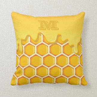 Monogram. Honeycomb. Dripping Honey. Cushion