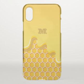 Monogram. Honeycomb with Golden Honey Drip. iPhone X Case