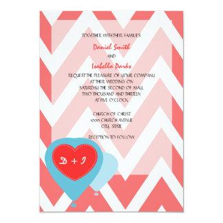 Monogram Hot Air Balloon Design Wedding Invite 5x7