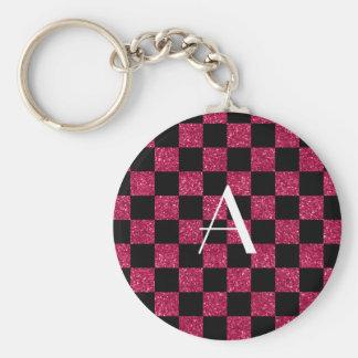 Monogram hot pink and black glitter checkered keychain