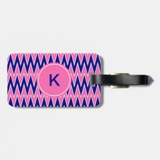 Monogram Hot Pink and Navy Blue Zigzag Pattern Luggage Tag