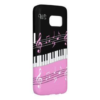 Monogram Hot pink Black White Piano Keys and Notes