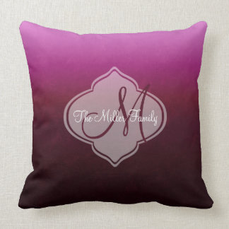 Monogram Hot Pink Burgundy Ombre Cushion