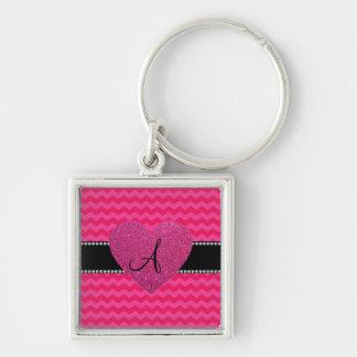 Monogram hot pink chevrons pink glitter heart keychain