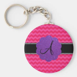 Monogram hot pink chevrons purple glitter scallop basic round button key ring