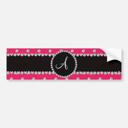 Monogram hot pink diamonds polka dots bumper stickers