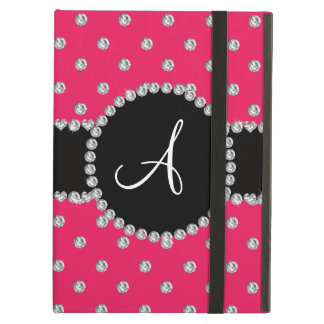 Monogram hot pink diamonds polka dots iPad air case