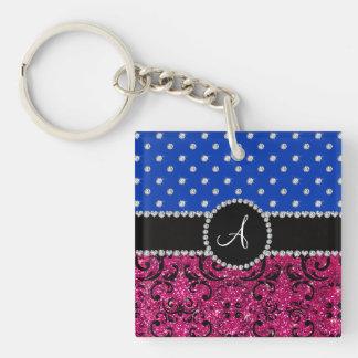 Monogram hot pink glitter damask blue diamonds Single-Sided square acrylic key ring