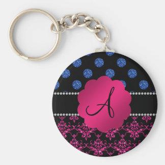 Monogram hot pink glitter damask blue dots key chains