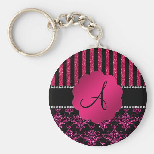 Monogram hot pink glitter damask pink stripes key chain