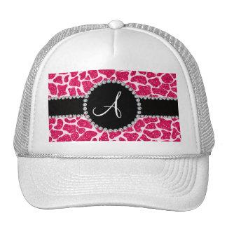 Monogram hot pink glitter giraffe pattern trucker hat