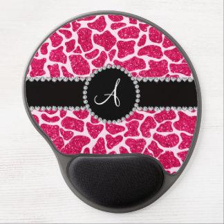 Monogram hot pink glitter giraffe pattern gel mouse pad
