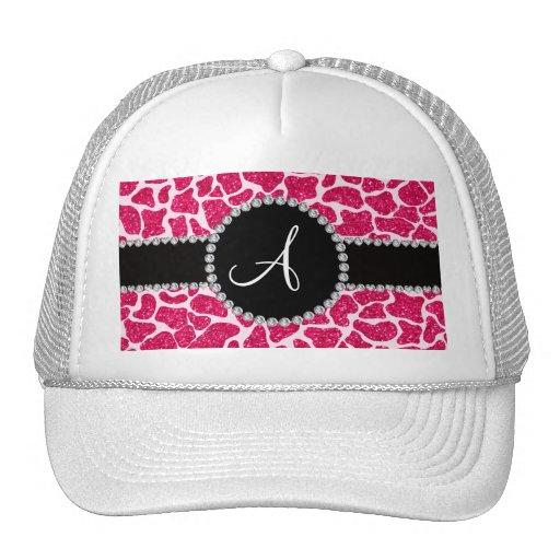 Monogram hot pink glitter giraffe pattern hat