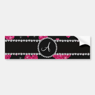Monogram hot pink glitter hearts black diamonds bumper stickers