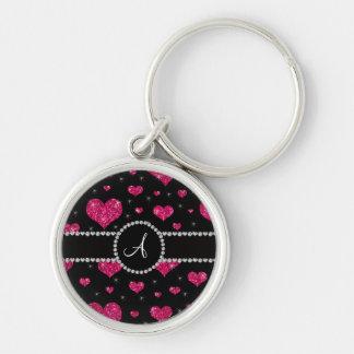 Monogram hot pink glitter hearts black diamonds keychain
