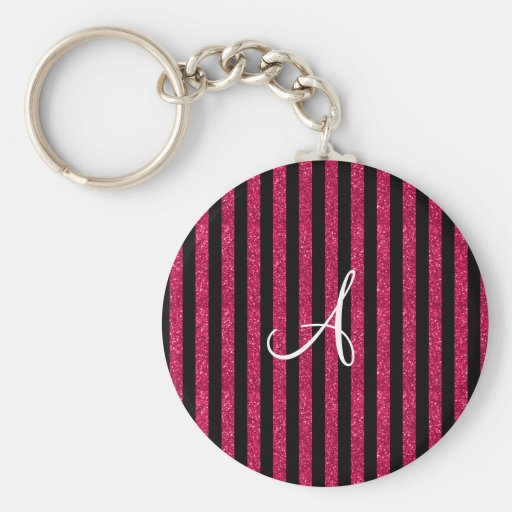 Monogram hot pink glitter stripes key chains