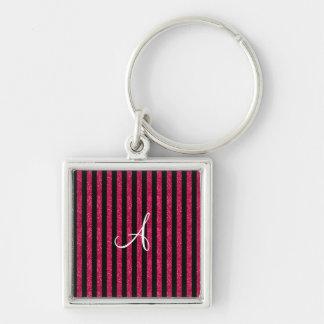 Monogram hot pink glitter stripes keychains