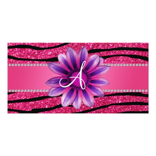 Monogram hot pink glitter zebra stripes daisy photo cards