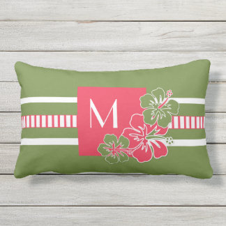 Monogram Hot Pink Hibiscus with Lime Green Outdoor Cushion