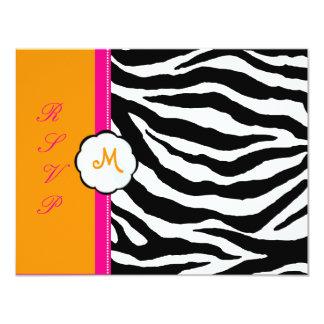 Monogram/Hot Pink/Orange/Zebra RSVP Card