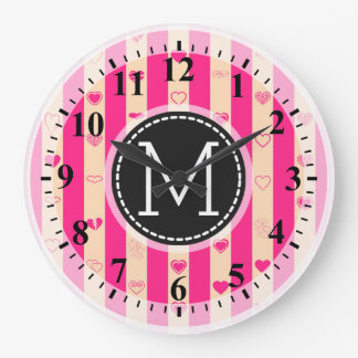 Monogram Hot Pink Stripes Modern Heart Pattern Large Clock