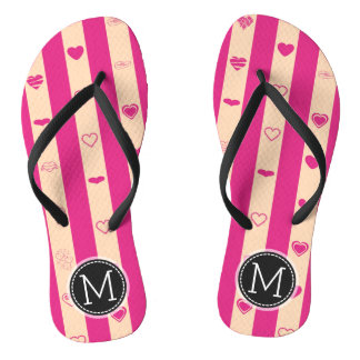 Monogram Hot Pink Stripes Modern Heart Pattern Thongs