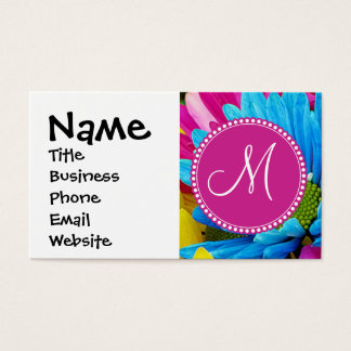 Monogram Hot Pink Teal Blue Gerber Daisies Flowers
