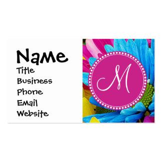 Monogram Hot Pink Teal Blue Gerber Daisies Flowers Pack Of Standard Business Cards