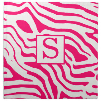 Monogram Hot Pink Zebra Napkin