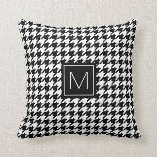 Monogram Houndstooth Pattern in Black and White Cushion